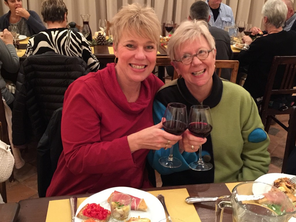 """Vickie and Krista enjoying the """"magic wine"""" they serve here. We all agree that the local preservative free wines allow all of us to drink a bit more and still feel great the next day...Magic!"""