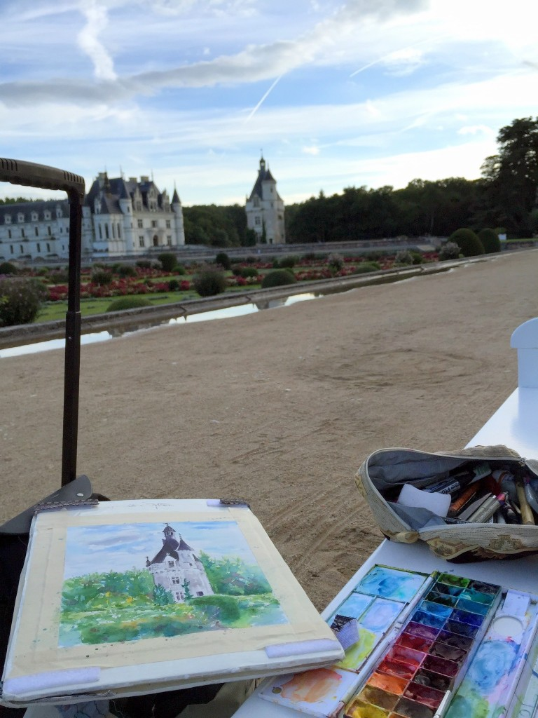 plein air painting at Chenonceau Castle