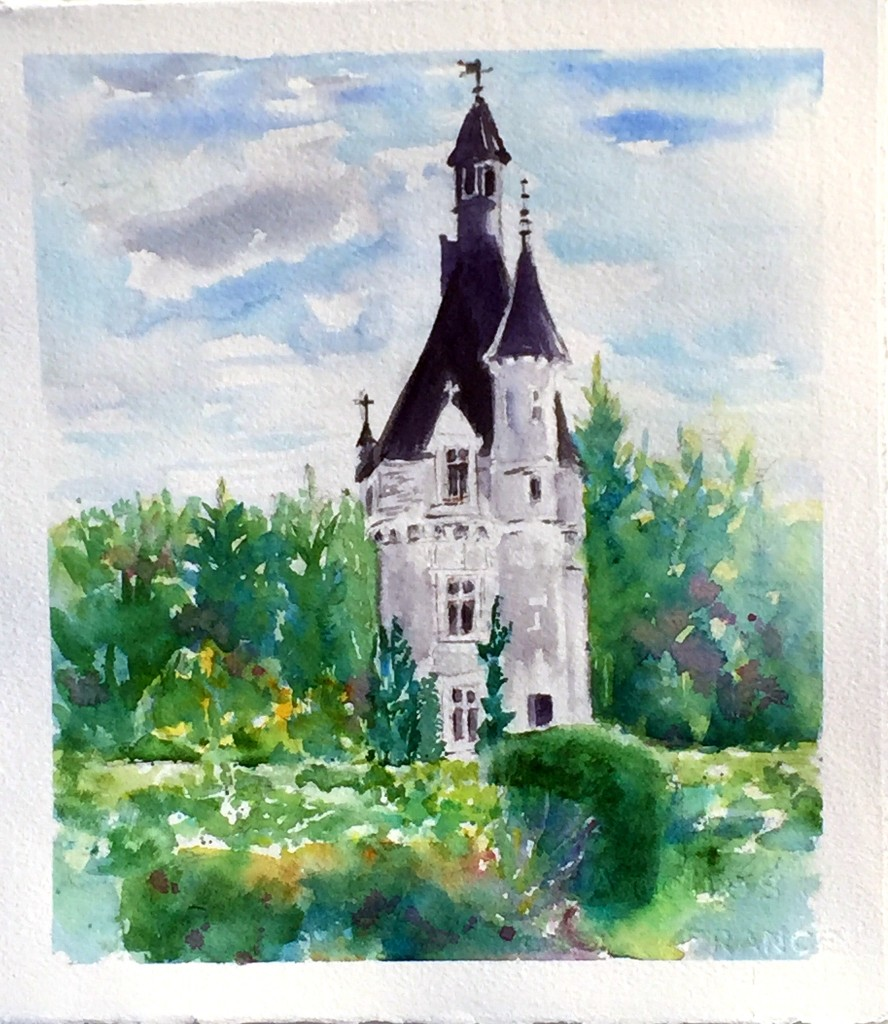plein air painting of Chenonceau by Rebecca Zdybel