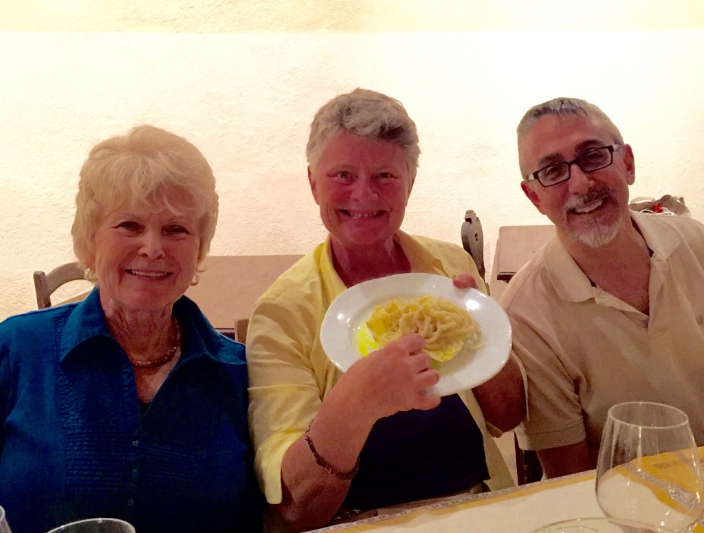 Helen, Debra, and Rick enjoying the pasta course.