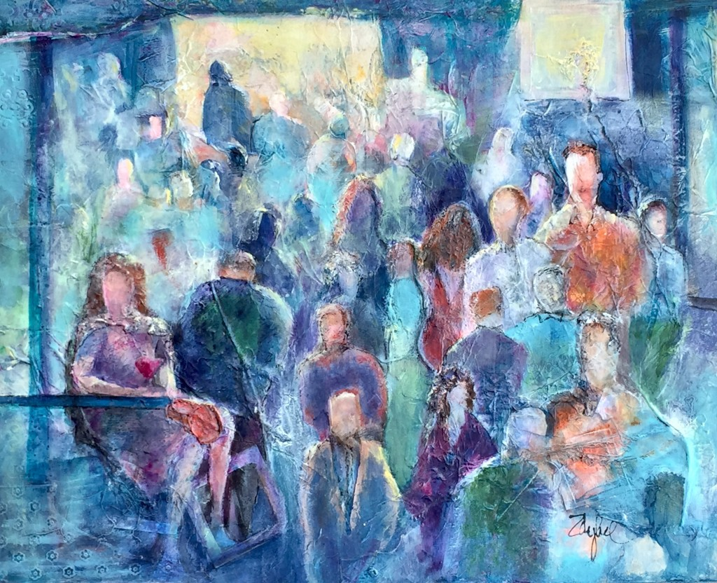 "Mixed media on crescent board. ""Alone in a Crowd"""